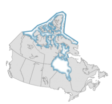Map of Canada with archipelago highlighted